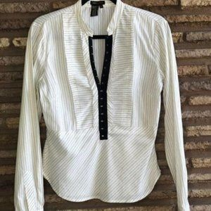 BCBGMaxAzria Black White Striped Peplum Blouse